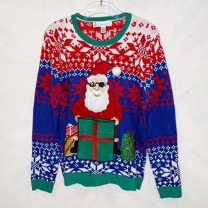 Ugly Sweater Cool Santa Sunglasses Drink Holder